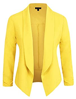 Michel Womens 3/4 Sleeve Lightweight Open Front Blazer Business Casual Work Office Cardigan Jacket with Plus Size Yellow S