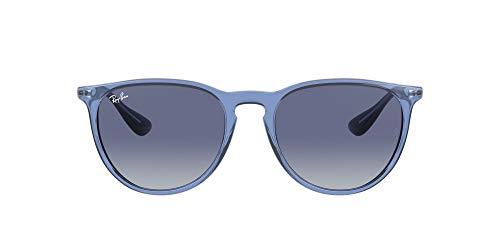 Ray-Ban Gafas de sol para mujer RB4171F Erika Asian Fit, color azul transparente/gris claro/azul oscuro, degradado, 54 mm