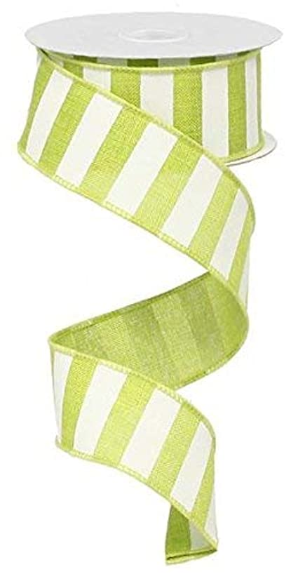 Lime Green White Striped Fabric Burlap Wired Ribbon (1.5 Inches x 10 Yards) : RX9148WW