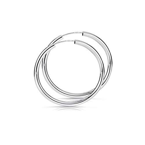 MATERIA Damen Creolen aus 925 Sterling-Silber 40mm 2,5mm breit nickelfrei SO-91