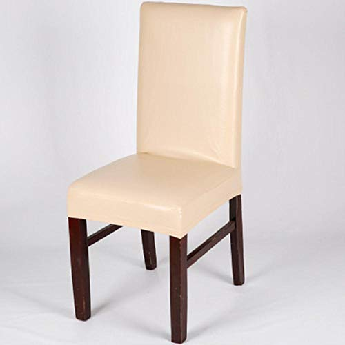 GFFGA Funda para Silla de Color sólido de Tela de Cuero, Fundas para sillas de Comedor Impermeables, Protector para sillas de Boda de Hotel, 2/4/6 Piezas