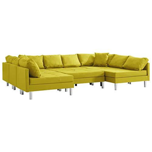 vidaXL Sofa Modular Ecksofa Eckcouch Couch Wohnlandschaft Wohnzimmersofa Polstersofa Stoffsofa Loungesofa Sofagarnitur Couchgarnitur Stoff Gelb