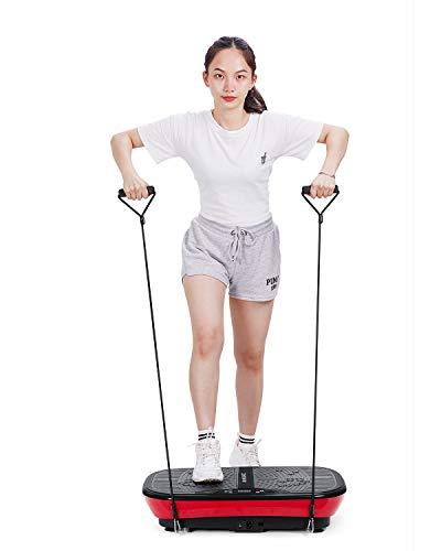 MaxKare Fitness Vibrationsplatte Vibrationsgeräte | 99 Geschwindigkeitsstufen + 10 Modi + 3 vibrierende Bereiche + 2 Schleifenbändern | Muscle Stärkung, Ganzkörperübungen (M)