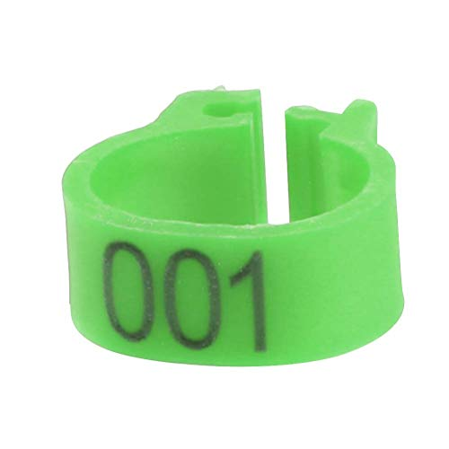 ViaGasaFamido Bird Leg Bands Rings, 100PCS/Bag 8MM Plastic Letter Pigeon Bird Leg Bands Rings 001-100 Numbered Poultry Leg Bands Durable Clip-on Ring for Bird(Green)