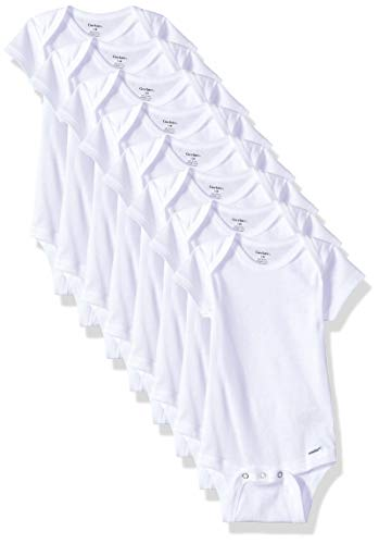 Gerber Baby 8-Pack Short Sleeve Onesies Bodysuits, Solid White, 12M