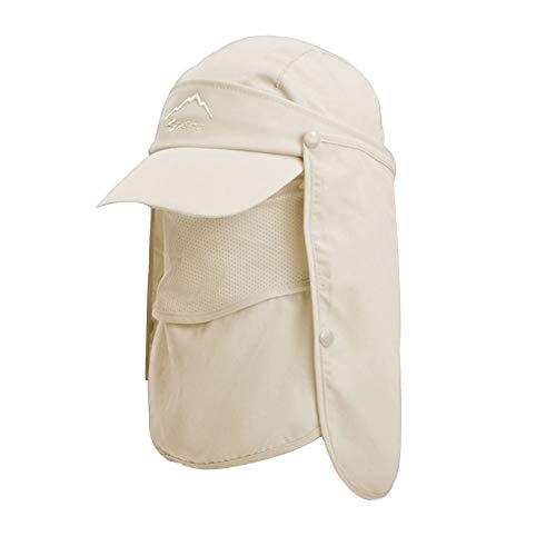 Lazz1on Hombre Sombreros de Pesca Gorra para el Sol Anti-UV con Proteccion de Cuello ala Ancha Desmontable Mujer Plegable Secado Rápido Sombreros Equitación Camping Senderismo