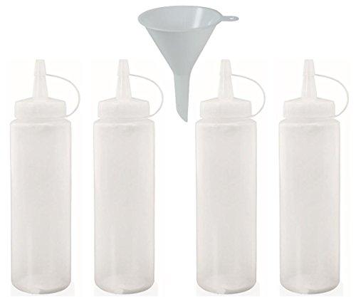 mikken 4X Squeeze-Flasche 0,23 L BPA-frei, Plastikflasche für Öl Ketchup Senf Sauce