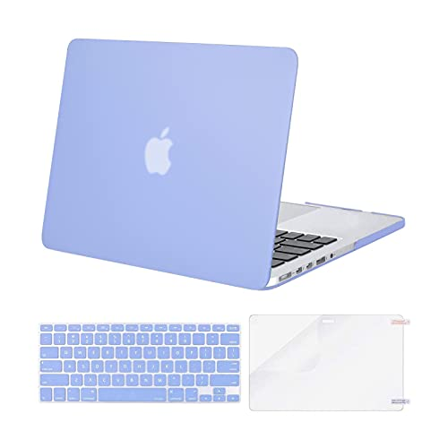 MOSISO Case Only Compatible with MacBook Pro Retina 13 inch (Models: A1502 & A1425) (Older Version Release 2015 - end 2012), Plastic Hard Shell Case & Keyboard Cover & Screen Protector, Serenity Blue