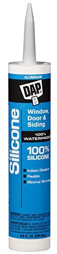 DAP 08643 9.8-Ounce 100% Silicone Window, Door and Siding Sealant, Aluminum