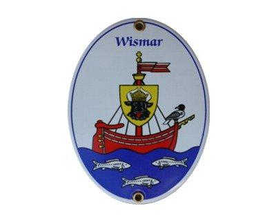 Wismar Emaille Schild Wismar 11,5 x 15 cm Emailschild Oval.