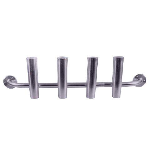 Taco Metals Marine Aluminum 4-Rod Adjustable Transom Rod Rack/Brushed/Packaged/Rod Holder( Length 10-Inch, Rod Holder Inside Diameter 1 7/8-Inch, Full Length 40 1/2-Inch)