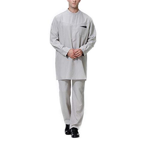 zhxinashu Arabische Kleidung Herren Robe Muslim - Kaftan Islamische Kleidung Männer Maxikleid Langarm Set (Grau,XXXL)