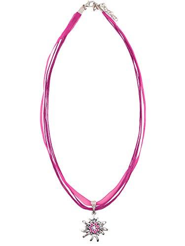 Schlick Trachtenkette Mehrfachband Edelweiß klein (pink)