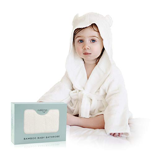 Extra Soft Bamboo Hooded Bathrobe For Kids by Natemia   Super Absorbent and Hypoallergenic   Ideal Baby Registry Gift