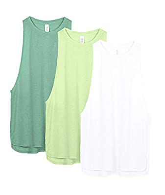 icyzone Yoga Tops Activewear Workout Clothes Sports Racerback Tank Tops for Women (M, White/Green/Pistachio Green)
