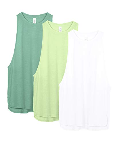 icyzone Workout Tank Tops for Women - Running Muscle Tank Sport Exercise Gym Yoga Tops Athletic Shirts(Pack of 3)(S, White/Green/Pistachio Green)