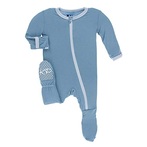 Kickee Pants Bamboo Solid Footie with Zipper (Blue Moon with Pond - 18-24 Months)