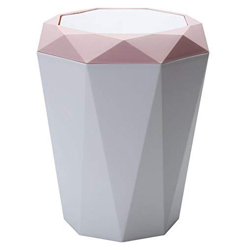 Estilo nórdico Flap Tipo Papelera Papelera innovadora Forma diamante Papelera reciclaje Oficina Papelera basura Contenedor basura estrecho Para la cocina Sala estar Baño Casa(Color aleatorio)