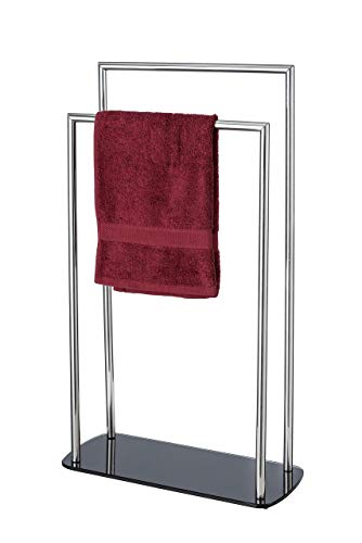 WENKO Handtuchhalter Ravina Edelstahl glänzend Handtuchständer Bodenplatte Glas, 48x80x20cm, Silber