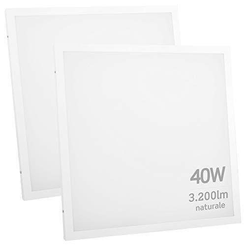 2x Pannelli LED 2in1 Incasso o Sospensione 40W 60x60cm Bianco Naturale 4000K Fascio Luminoso 120° - Eurocali