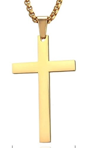 Jewelsmart 925 Silver Yellow Gold Plated Religious Symbols Jesus Cross Pendent Necklace For Man & Women (White)