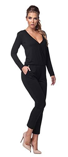 Lemoniade stylischer Jumpsuit Made in EU mit V-Ausschnitt und raffinierten Details, Schwarz Langarm, Gr. M (36/38)
