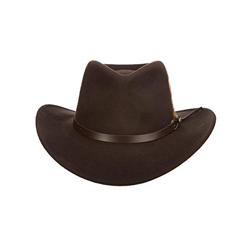 Scala Classico Men's Crushable Felt Outback Hat, Chocolate, Large
