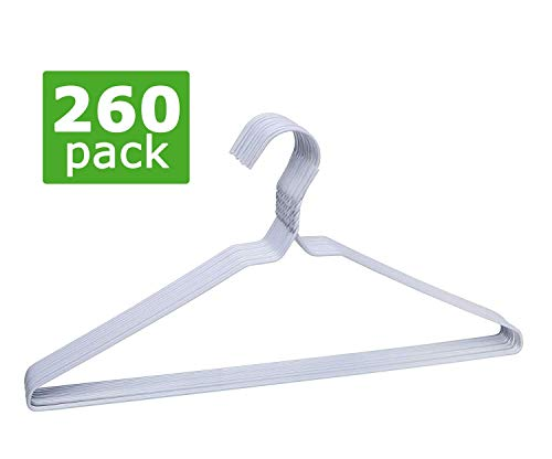 Perchas de Metal de 40cm [Super Lote con 260] Ahorra Espacio. Ideal para Camisas Pantalones y Vestidos Tintorerías Forradas Plástico Blanco