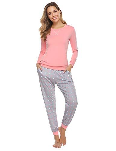 Hawiton Pijamas Mujer,Pijamas de algodón,Mangas Larga Camiseta y Pantalones de Lunares ondulados Conjunto de Ropa de Dormir 28 Piezas,Tallas Grandes, Azul,L