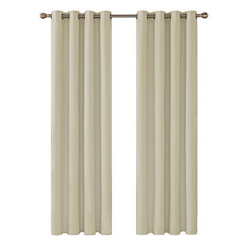 Deconovo Cortinas Dormitorio con Aislamiento Térmico Tela Lisa Decoración Hogars 2 Paneles 140 x 245 cm Beige Oscuro