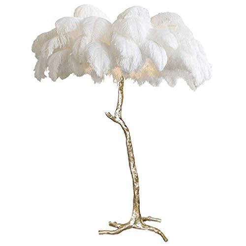 FANTHY-Light Stehlampe mit echten Federn, Romantische Prinzessin, Schlafzimmer, Nachttisch, Stehlampe, Straußenfeder-Lampe, Weiß