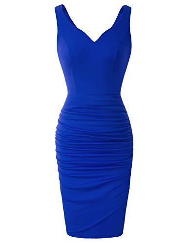Mujer Vestido Lápiz Corto de Plisado sin Mangas con Escote Corazón para Noche M Azul CLS02497-3