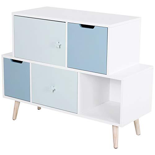 HOMCOM Kinderzimmer Schrank, Kinderschrank mit 3 Schubladen, Aufbewahrungsregal, Kieferholz, MDF, Blau, 105 x 40 x 81 cm