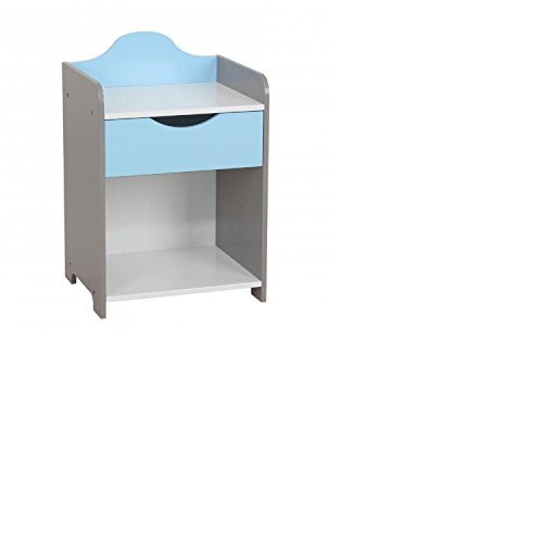 Nachtkastje voor jongens, MDF, wit, blauw, nachtkastje voor kinderen, jongens, 1 lade, 54 x 36 x L 30 cm