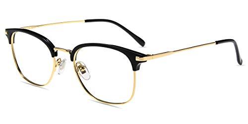 Firmoo Gafas para Ordenador Anti luz Azul,Evita la Fatiga Ojos, Gafas PC UV Luz Filtro Protección Azul Mujer Hombre para Antifatiga, S3571 Negro Oro