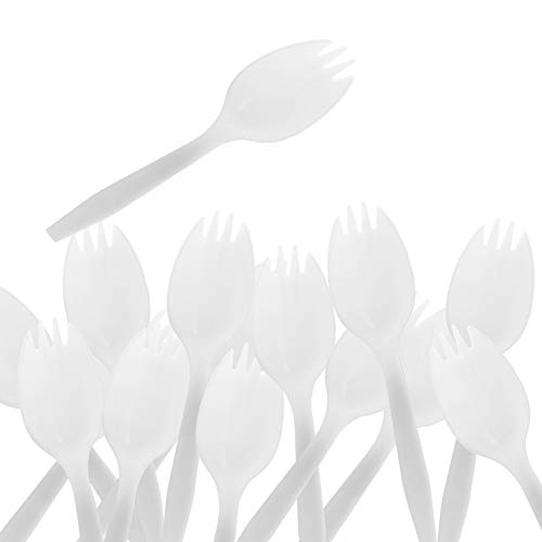 Disposable Sporks - 50Pack Plastic White Disposable Sporks for Party Supply