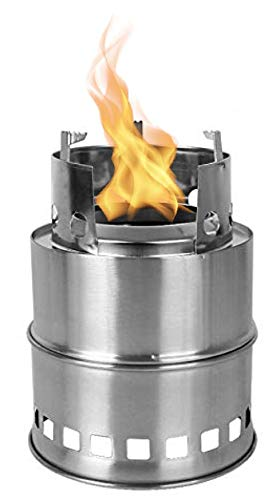 Amazayn Waru Camping Stove, Wood Backpacking Stove, Portable, Stainless Steel, Alcohol Bowl, Compact, Durable & Lightweight for Camping, Hiking, Outdoor Backpacking