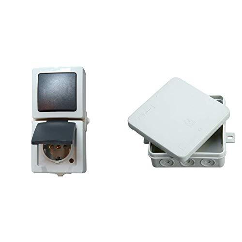 Kopp Nautic Steckdose und Schalter Kombination für Feuchtraum, IP44, 250V (16A), Aufputz Schutzkontakt , grau & Abzweigdose Aufputz Feuchtraum, 5-polige Klemmleiste, 100 x 100 x 40 mm, IP54, grau