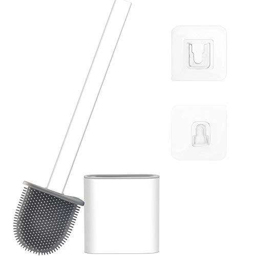 DPZCBH Balayette WC Creative Silicone WC Brosse WC Mural Plat t/ête Flexible Brosse Souple avec Salle de Bains s/échage Set Support Toilet Brush Color : White