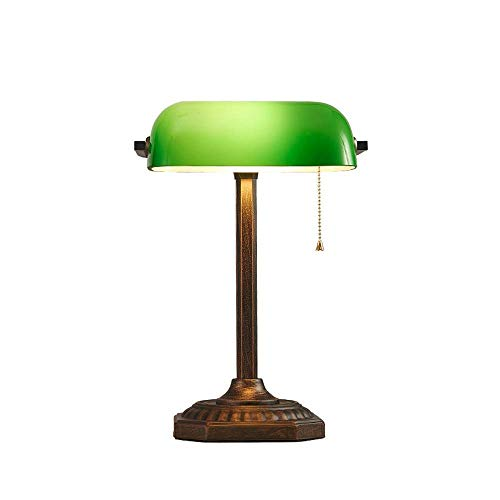 SLEVE Simple Creative Lampe de table E27, chinois Vintage verre vert clair de bureau en fer forgé avec interrupteur Lampe de table Pull for l'étude de la protection des yeux lampe de lecture Bureau Ch