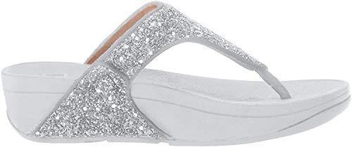 Fitflop Damen Lulu Glitter Toe-Thongs Peeptoe Sandalen, Silber (Silver 011), 40 EU