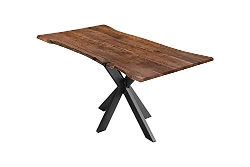 SAM Esszimmertisch 160x85cm Lyon, echte Baumkante, Akazienholz nussbaumfarben, massiver Baumkantentisch mit Spider-Gestell Mattschwarz, Esstisch im Industrial-Design