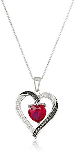 Jewelili Sterling Silver 8 MM Created Heart Ruby and 1/10 Cttw Natural Round Black and White Diamond Pendant Necklace, 18