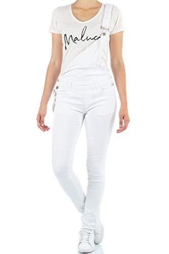 Malucas Damen Latzjeans Skinny Stretch 00499, Größe:38, Farbe:Weiß