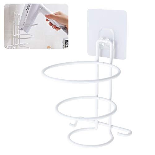 Yardwe Adesivo Porta Asciugacapelli da Parete per Bagno Asciugacapelli Storage Rack Hair Blower Holder Accessori Bagno Porta phon da Muro (Bianco)