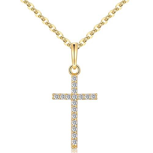 HOFOUND Damen Cross Kette Zirkonia im Kreuz Anhänger Halskette Kettenanhänger für Frauen Mädchen (Gold)