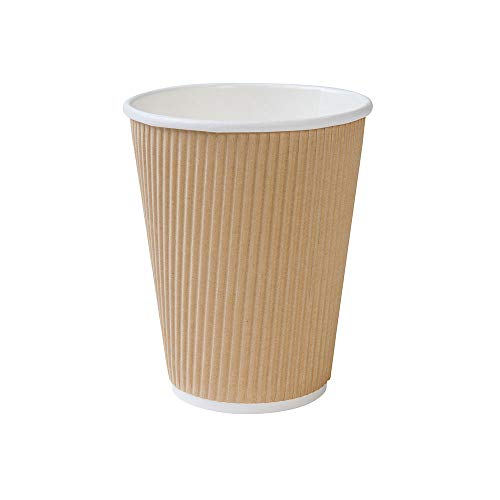 Bionatic Spain Vaso de Cafe, cartón Kraft Ondulado marrón ecológico, Biodegradable y...