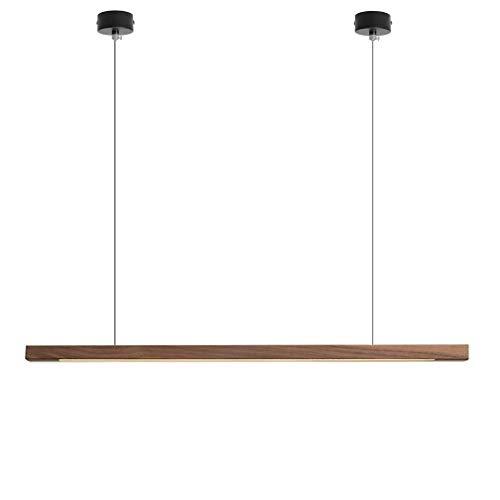 Led-strepen eettafel bar massief houten hanglamp, modern restaurant neutraal wit kroonluchter, kantoor teller keuken plafondlamp, lezen hanglamp in hoogte verstelbaar (zwart notenboom, 120 cm)