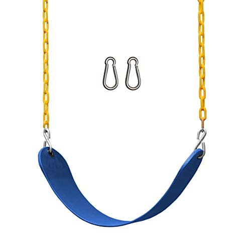 """Jungle Gym Kingdom Swing Seat Heavy Duty 66"""" Chain Plastic Coated - Playground Swing Set Accessories Replacement (Blue)"""