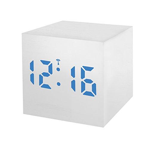 Bresser Funkwecker MyTime WAC weiß in Holzoptik mit dimmbarer blauer LED, Datum und Temperaturanzeige